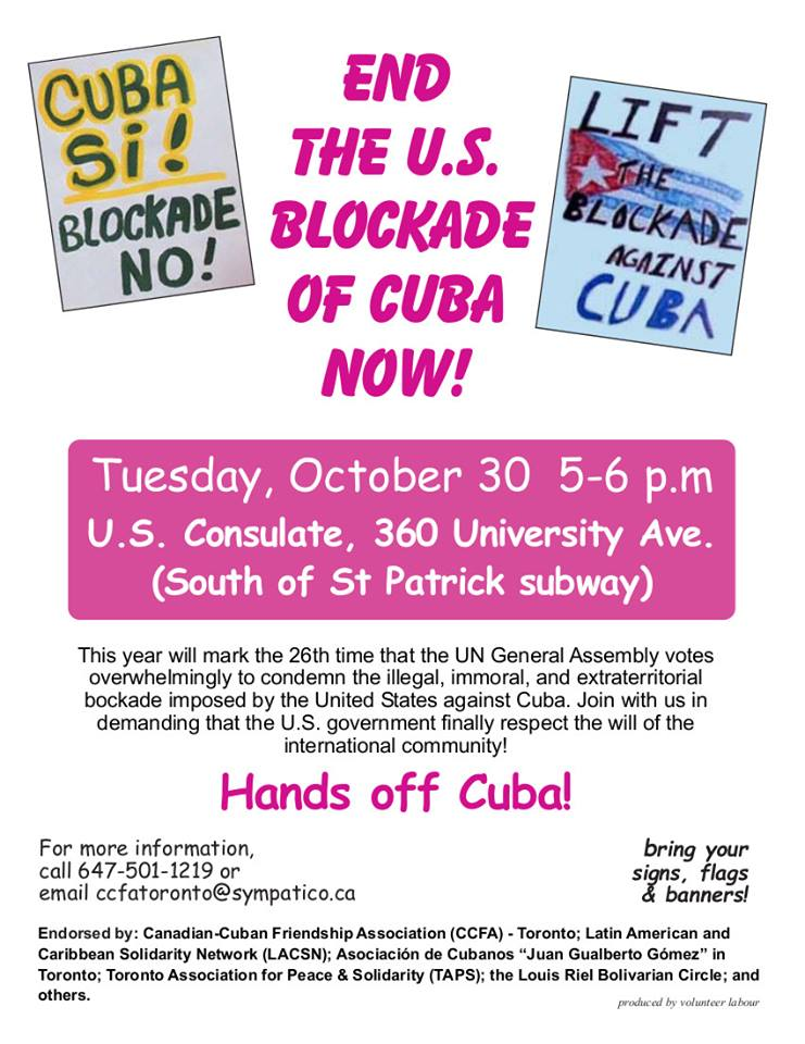 Toronto protest US blockade of Cuba